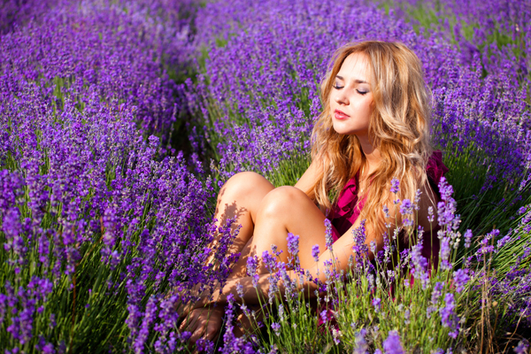 beautiful blonde in lavender field